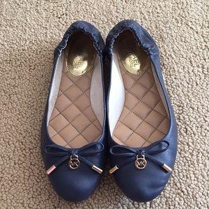 Michael Kors Navy Blue Leather Ballet Flats